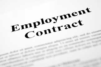 Image of an employment contract.